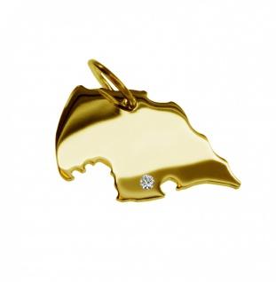 Kettenanhänger in der Form von der Landkarte Fehmarn mit Brillant 0, 015ct an Ihrem Wunschort in massiv 585 Gelbgold
