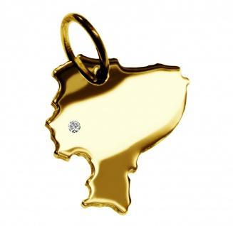 Kettenanhänger in der Form von der Landkarte Ecuador mit Brillant 0, 015ct an Ihrem Wunschort in massiv 585 Gelbgold