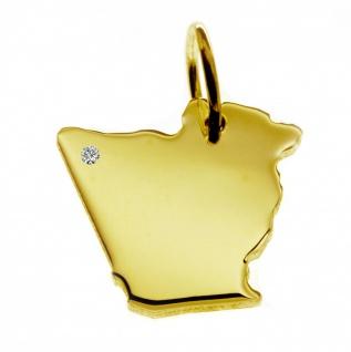Kettenanhänger in der Form von der Landkarte Algerien mit Brillant 0, 015ct an Ihrem Wunschort in massiv 585 Gelbgold