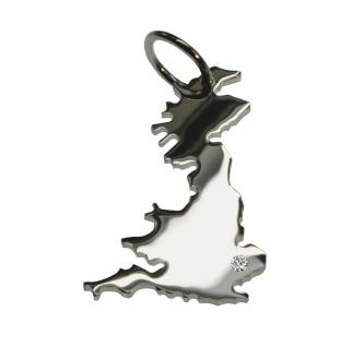 England Anhänger mit einem Brillant 0, 015ct an Ihrem Wunschort in massiv 925 Silber