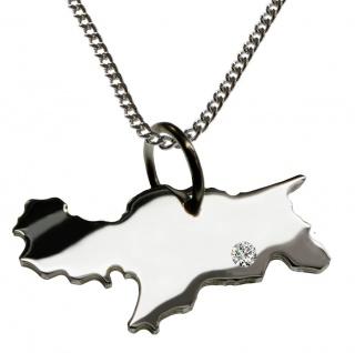 50cm Halskette + Südtirol Anhänger mit einem Brillant 0, 015ct an Ihrem Wunschort in 925 Silber
