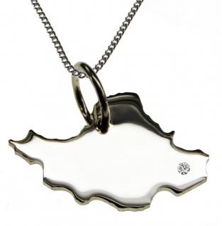 50cm Halskette + Iran Anhänger mit einem Brillant 0, 015ct an Ihrem Wunschort in 925 Silber