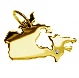 Kettenanhänger in der Form von der Landkarte Kanada mit Brillant 0, 015ct an Ihrem Wunschort in massiv 585 Gelbgold