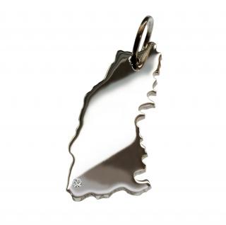 Schwarzwald Anhänger mit einem Brillant 0, 015ct an Ihrem Wunschort in massiv 925 Silber