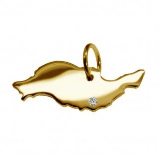 Kettenanhänger in der Form von der Landkarte Lanzarote mit Brillant 0, 015ct an Ihrem Wunschort in massiv 585 Gelbgold