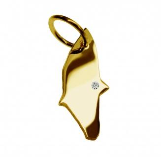 Kettenanhänger in der Form von der Landkarte Rhodos mit Brillant 0, 015ct an Ihrem Wunschort in massiv 585 Gelbgold