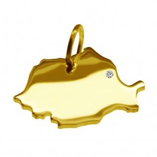 Kettenanhänger in der Form von der Landkarte Rumänien mit Brillant 0, 015ct an Ihrem Wunschort in massiv 585 Gelbgold