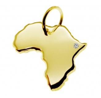 Kettenanhänger in der Form von der Landkarte Afrika mit Brillant 0, 015ct an Ihrem Wunschort in massiv 585 Gelbgold
