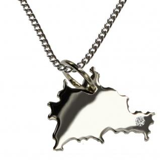 50cm Halskette + Berlin Anhänger mit einem Brillant 0, 015ct an Ihrem Wunschort in 925 Silber
