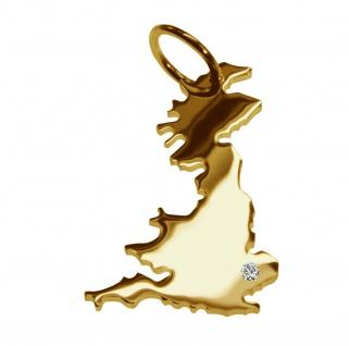Kettenanhänger in der Form von der Landkarte England mit Brillant 0, 015ct an Ihrem Wunschort in massiv 585 Gelbgold