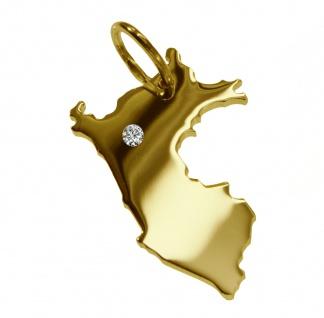 Kettenanhänger in der Form von der Landkarte Peru mit Brillant 0, 015ct an Ihrem Wunschort in massiv 585 Gelbgold