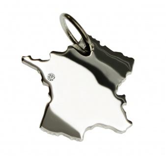 Frankreich Anhänger mit einem Brillant 0, 015ct an Ihrem Wunschort in massiv 925 Silber