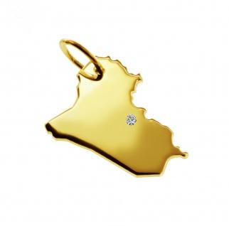Kettenanhänger in der Form von der Landkarte Irak mit Brillant 0, 015ct an Ihrem Wunschort in massiv 585 Gelbgold