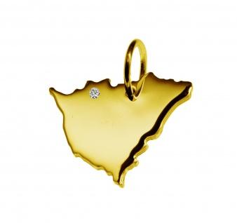 Kettenanhänger in der Form von der Landkarte Nicaragua mit Brillant 0, 015ct an Ihrem Wunschort in massiv 585 Gelbgold