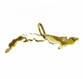 Kettenanhänger in der Form von der Landkarte Kuba mit Brillant 0, 015ct an Ihrem Wunschort in massiv 585 Gelbgold