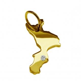 Kettenanhänger in der Form von der Landkarte Kalabrien mit Brillant 0, 015ct an Ihrem Wunschort in massiv 585 Gelbgold