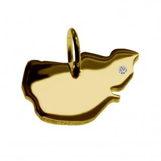 Kettenanhänger in der Form von der Landkarte Pellworm mit Brillant 0, 015ct an Ihrem Wunschort in massiv 585 Gelbgold