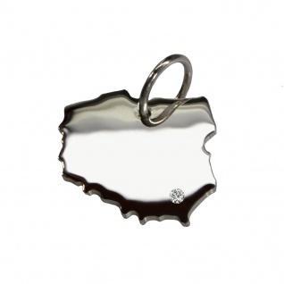 Polen Anhänger mit einem Brillant 0, 015ct an Ihrem Wunschort in massiv 925 Silber