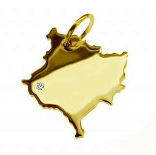Kettenanhänger in der Form von der Landkarte Kosovo mit Brillant 0, 015ct an Ihrem Wunschort in massiv 585 Gelbgold
