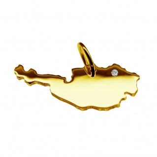 Kettenanhänger in der Form von der Landkarte Österreich mit Brillant 0, 015ct an Ihrem Wunschort in massiv 585 Gelbgold