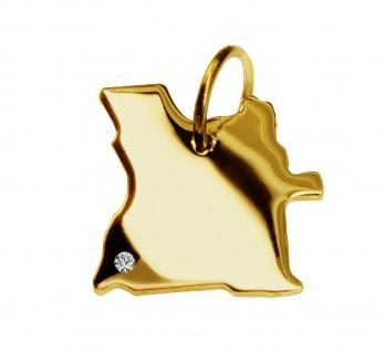 Kettenanhänger in der Form von der Landkarte Angola mit Brillant 0, 015ct an Ihrem Wunschort in massiv 585 Gelbgold