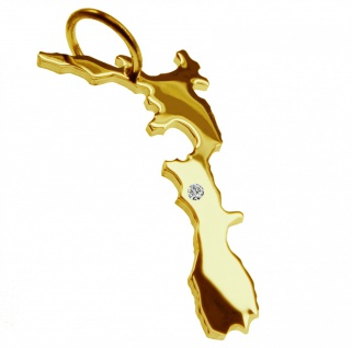 Kettenanhänger in der Form von der Landkarte Neuseeland mit Brillant 0, 015ct an Ihrem Wunschort in massiv 585 Gelbgold