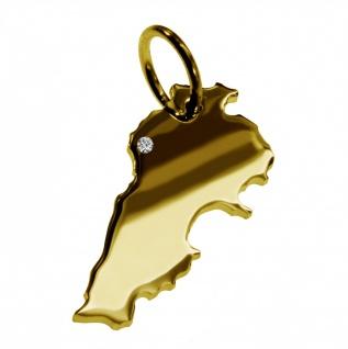Kettenanhänger in der Form von der Landkarte Libanon mit Brillant 0, 015ct an Ihrem Wunschort in massiv 585 Gelbgold