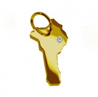 Kettenanhänger in der Form von der Landkarte Benin mit Brillant 0, 015ct an Ihrem Wunschort in massiv 585 Gelbgold
