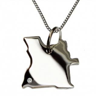 50cm Halskette + Angola Anhänger mit einem Brillant 0, 015ct an Ihrem Wunschort in 925 Silber