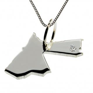 50cm Halskette + Jordanien Anhänger mit einem Brillant 0, 015ct an Ihrem Wunschort in 925 Silber