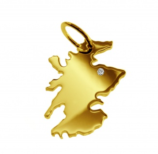 Kettenanhänger in der Form von der Landkarte Schottland mit Brillant 0, 015ct an Ihrem Wunschort in massiv 585 Gelbgold