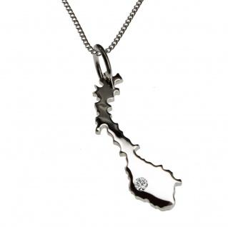 50cm Halskette + Norwegen Anhänger mit einem Brillant 0, 015ct an Ihrem Wunschort in 925 Silber