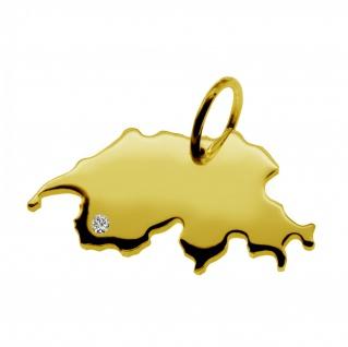 Kettenanhänger in der Form von der Landkarte Schweiz mit Brillant 0, 015ct an Ihrem Wunschort in massiv 585 Gelbgold