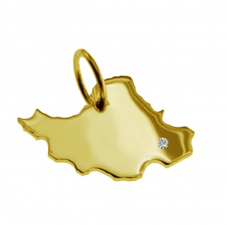 Kettenanhänger in der Form von der Landkarte Iran mit Brillant 0, 015ct an Ihrem Wunschort in massiv 585 Gelbgold