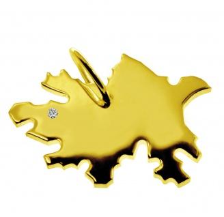 Kettenanhänger in der Form von der Landkarte Azerbaijan mit Brillant 0, 015ct an Ihrem Wunschort in massiv 585 Gelbgold