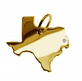 Kettenanhänger in der Form von der Landkarte Texas mit Brillant 0, 015ct an Ihrem Wunschort in massiv 585 Gelbgold