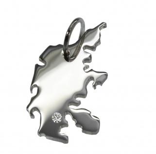 Dänemark Anhänger mit einem Brillant 0, 015ct an Ihrem Wunschort in massiv 925 Silber