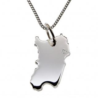50cm Halskette + Sardinien Anhänger mit einem Brillant 0, 015ct an Ihrem Wunschort in 925 Silber