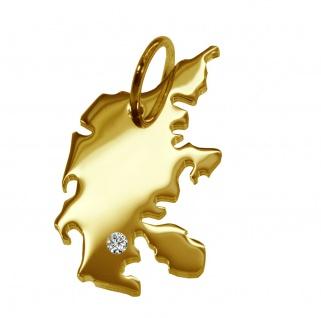 Kettenanhänger in der Form von der Landkarte Dänemark mit Brillant 0, 015ct an Ihrem Wunschort in massiv 585 Gelbgold