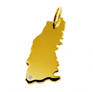 Kettenanhänger in der Form von der Landkarte Schwarzwald mit Brillant 0, 015ct an Ihrem Wunschort in massiv 585 Gelbgold