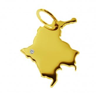 Kettenanhänger in der Form von der Landkarte Kolumbien mit Brillant 0, 015ct an Ihrem Wunschort in massiv 585 Gelbgold