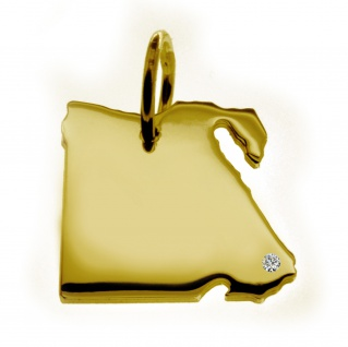 Kettenanhänger in der Form von der Landkarte Ägypten mit Brillant 0, 015ct an Ihrem Wunschort in massiv 585 Gelbgold