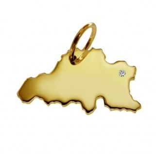 Kettenanhänger in der Form von der Landkarte Belgien mit Brillant 0, 015ct an Ihrem Wunschort in massiv 585 Gelbgold