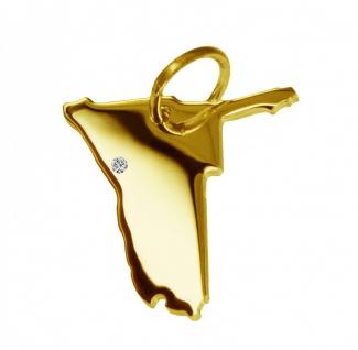 Kettenanhänger in der Form von der Landkarte Namibia mit Brillant 0, 015ct an Ihrem Wunschort in massiv 585 Gelbgold