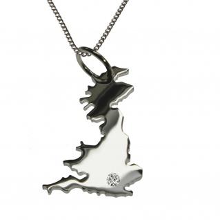 50cm Halskette + England Anhänger mit einem Brillant 0, 015ct an Ihrem Wunschort in 925 Silber