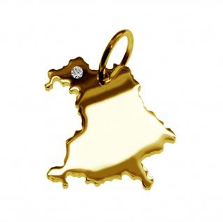 Kettenanhänger in der Form von der Landkarte Bayern mit Brillant 0, 015ct an Ihrem Wunschort in massiv 585 Gelbgold