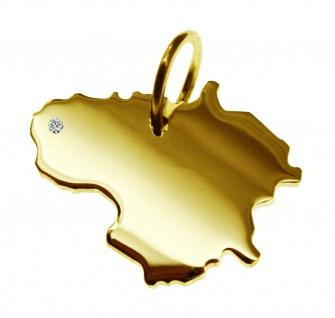 Kettenanhänger in der Form von der Landkarte Litauen mit Brillant 0, 015ct an Ihrem Wunschort in massiv 585 Gelbgold