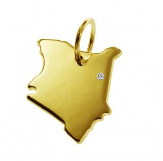 Kettenanhänger in der Form von der Landkarte Kenia mit Brillant 0, 015ct an Ihrem Wunschort in massiv 585 Gelbgold