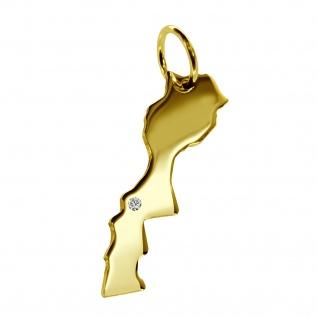 Kettenanhänger in der Form von der Landkarte Marokko mit Brillant 0, 015ct an Ihrem Wunschort in massiv 585 Gelbgold