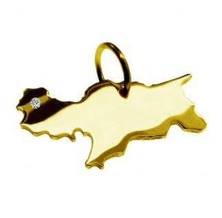 Kettenanhänger in der Form von der Landkarte Südtirol mit Brillant 0, 015ct an Ihrem Wunschort in massiv 585 Gelbgold